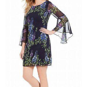 Jessica Howard Floral Long Bell Sleeve Shift Dress